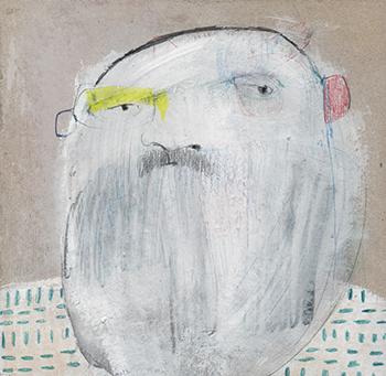 © Lidia Sarria - Una cabeza de la serie personas con dudas existenciales - No sé si pegarte o comerme un bocadillo de chorizo