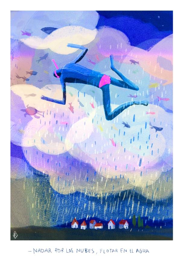 © Rosaura Rombo - Nadar por las nubes, flotar en el agua - Ropa Tendida Fanzine - Agua